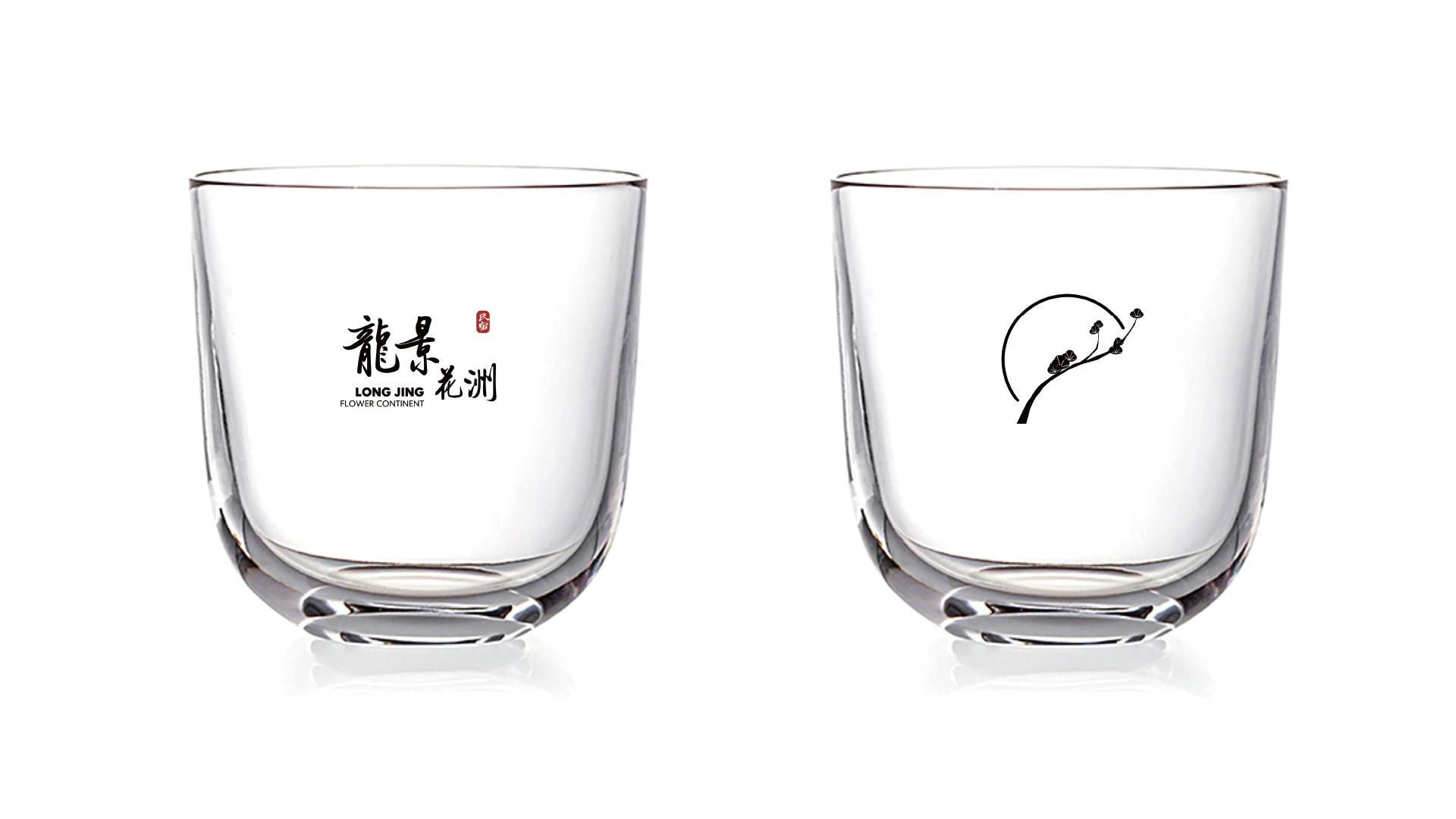龙景花洲LOGO应用玻璃杯设计
