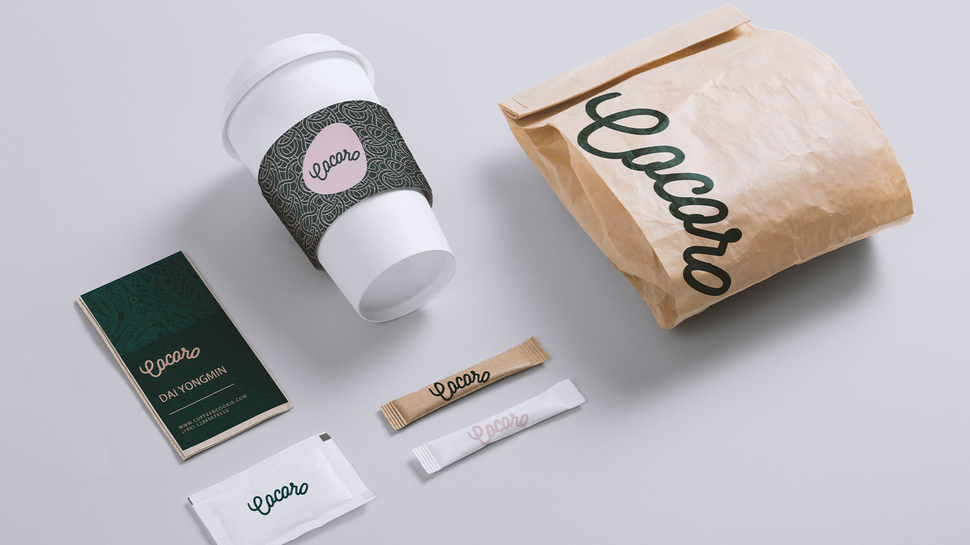 cocoro咖啡厅品牌包装设计-面包袋设计