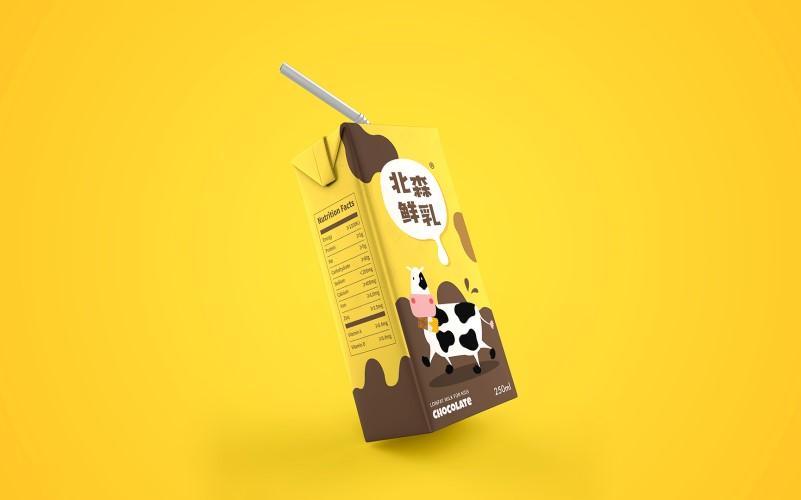北森鲜乳儿童牛奶包装设计